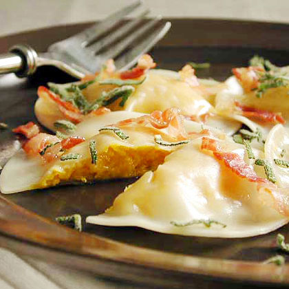 Butternut Squash Ravioli with Pancetta and Sage