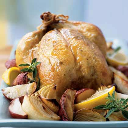 Roasted Chicken with Onions, Potatoes, and GravyRecipe