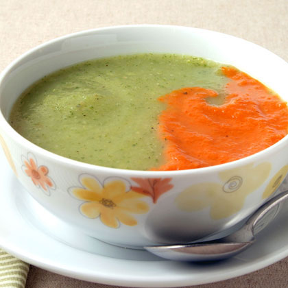 Zucchini and Fennel Soup with Roasted Red Pepper Puree