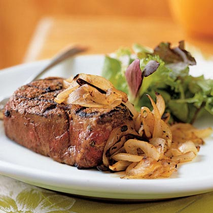 Spicy Filet Mignon with Grilled Sweet Onion Recipe | MyRecipes