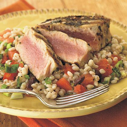 Grilled Tuna over Lemon-Mint Barley Salad Recipe | MyRecipes.com