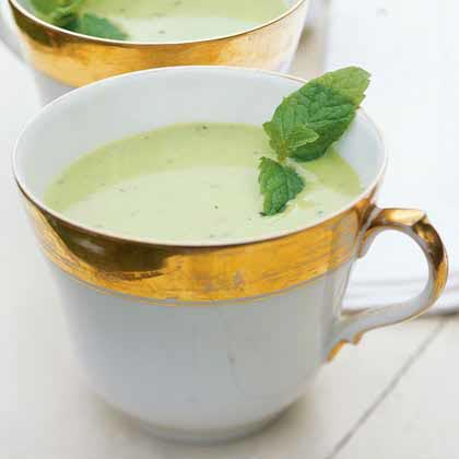 Chilled Pea Soup with Mint Pesto Recipe | MyRecipes.com