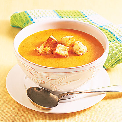 Warm up with a cup of easy, cheesy soup.Roasted Pepper-Cheddar Soup Recipe