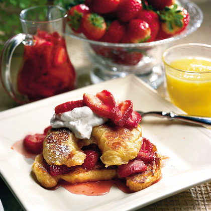 Croissant French Toast With Fresh Strawberry Syrup