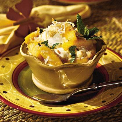 Mint Nectarines With Pineapple-Coconut Ice Cream