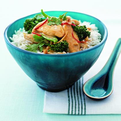 Satay Chicken Stir-Fry with Snow Peas and CilantroRecipe