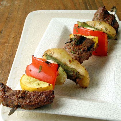 Beef, Okra, and Potato Kebabs