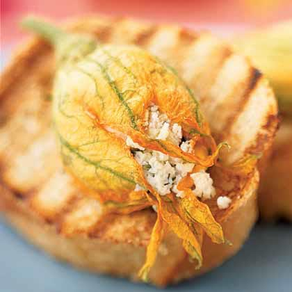 Stuffed Squash Blossom Bruschetta Recipe Myrecipes