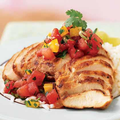 Sesame-Chile Chicken with Gingered Watermelon Salsa Recipe