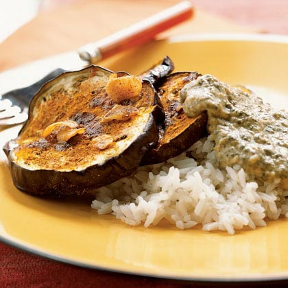 Eggplant with Spinach-Yogurt Sauce (Hariyali Kadhi)