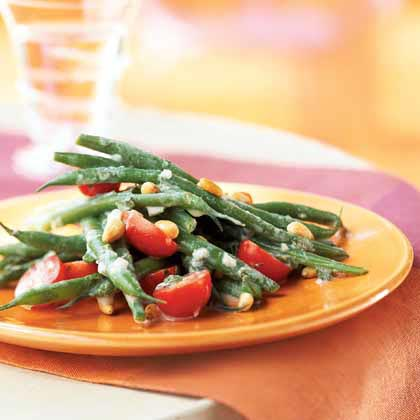 Haricots Verts and Grape Tomato Salad with Crème Fraîche Dressing Recipe