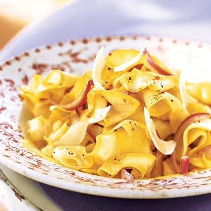 Yellow Squash Ribbons with Red Onion and Parmesan Recipe