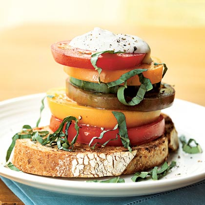 Stacked Heirloom Tomato Salad with Ricotta Salata Cream