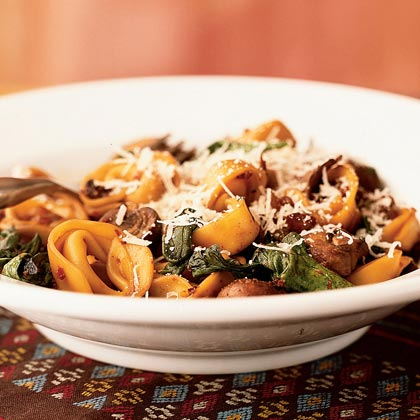 Fresh Tortellini with Mushrooms and Pancetta