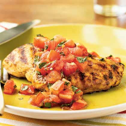 Grilled Chicken with Italian Salsa RecipeMake a simple salsa with fresh tomatoes, basil, balsamic vinegar and a splash of orange juice, and spoon it over grilled herbed-marinated chicken breasts.