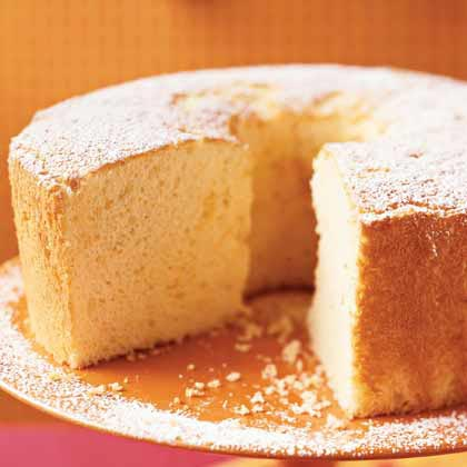 Citrus Chiffon Cake RecipeBeaten egg whites are the key to a light and airy chiffon cake. With only 158 calories and 5 grams of fat per slice, you'll be on your way to feeling light and airy yourself after enjoying this tangy cake for dessert.