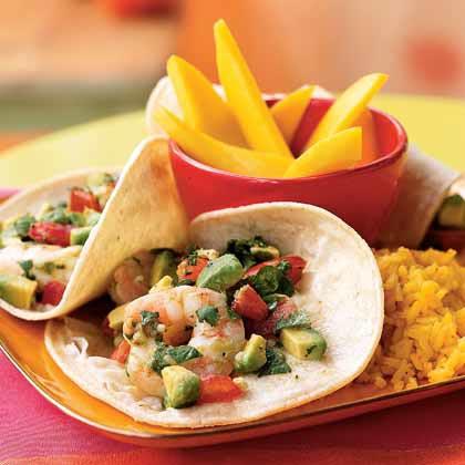 Seviche-Style Shrimp and Avocado Tacos Recipe | MyRecipes.com