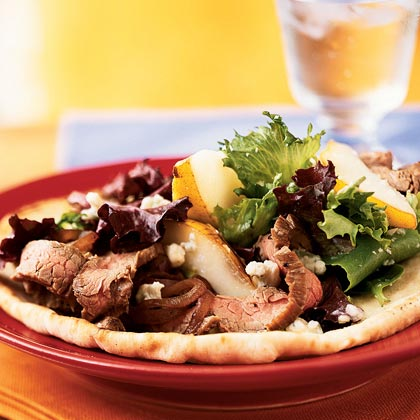 <p>Open-Faced Steak, Pear, and Gorgonzola Sandwiches</p>