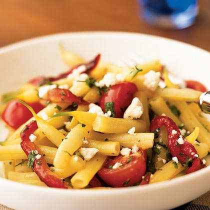 Wax Bean, Roasted Pepper, and Tomato Salad with Goat CheeseRecipe