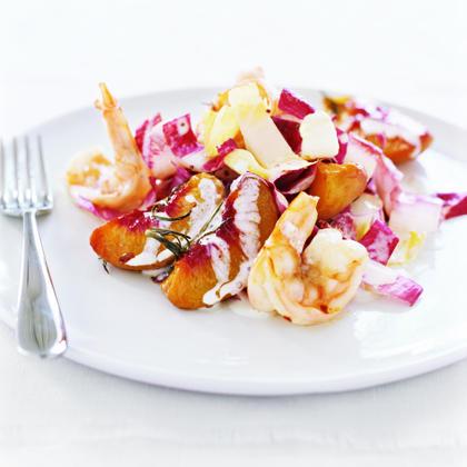 Roasted Peach and Shrimp Salad