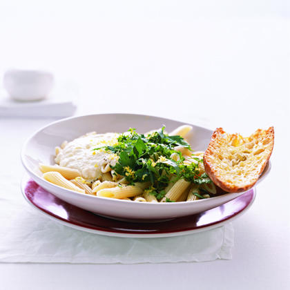 Chopped fresh herbs and a splash of lemon juice provide bright flavor for this simple pasta dish.Pasta with Ricotta, Herbs, and Lemon Recipe