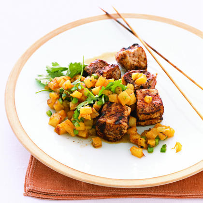 Chili-Rubbed Pork Kebabs with Pineapple Salsa Recipe