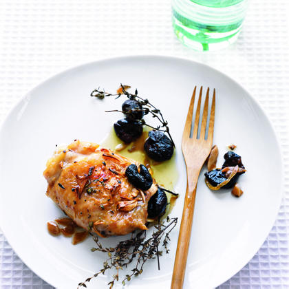 """Roast Chicken with Olives, Garlic, and Thyme"""