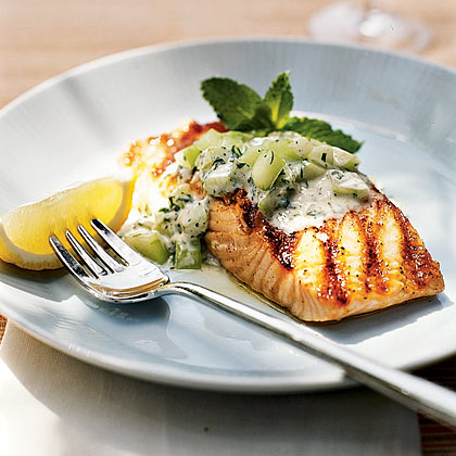Grilled Salmon With Minted Cucumber Sauce