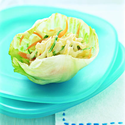 Coleslaw Cups RecipeSkip the plate and fork and serve a tailgate favorite, cole slaw, with ease by using crisp lettuce as your vehicle for this tasty side.