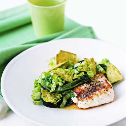 Pan-Seared Grouper with Romaine Slaw Recipe