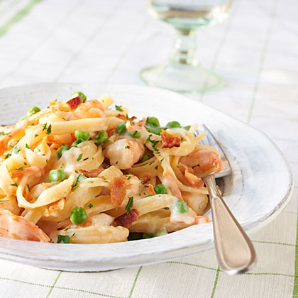 <p>Fettuccine with Shrimp and Bacon</p>