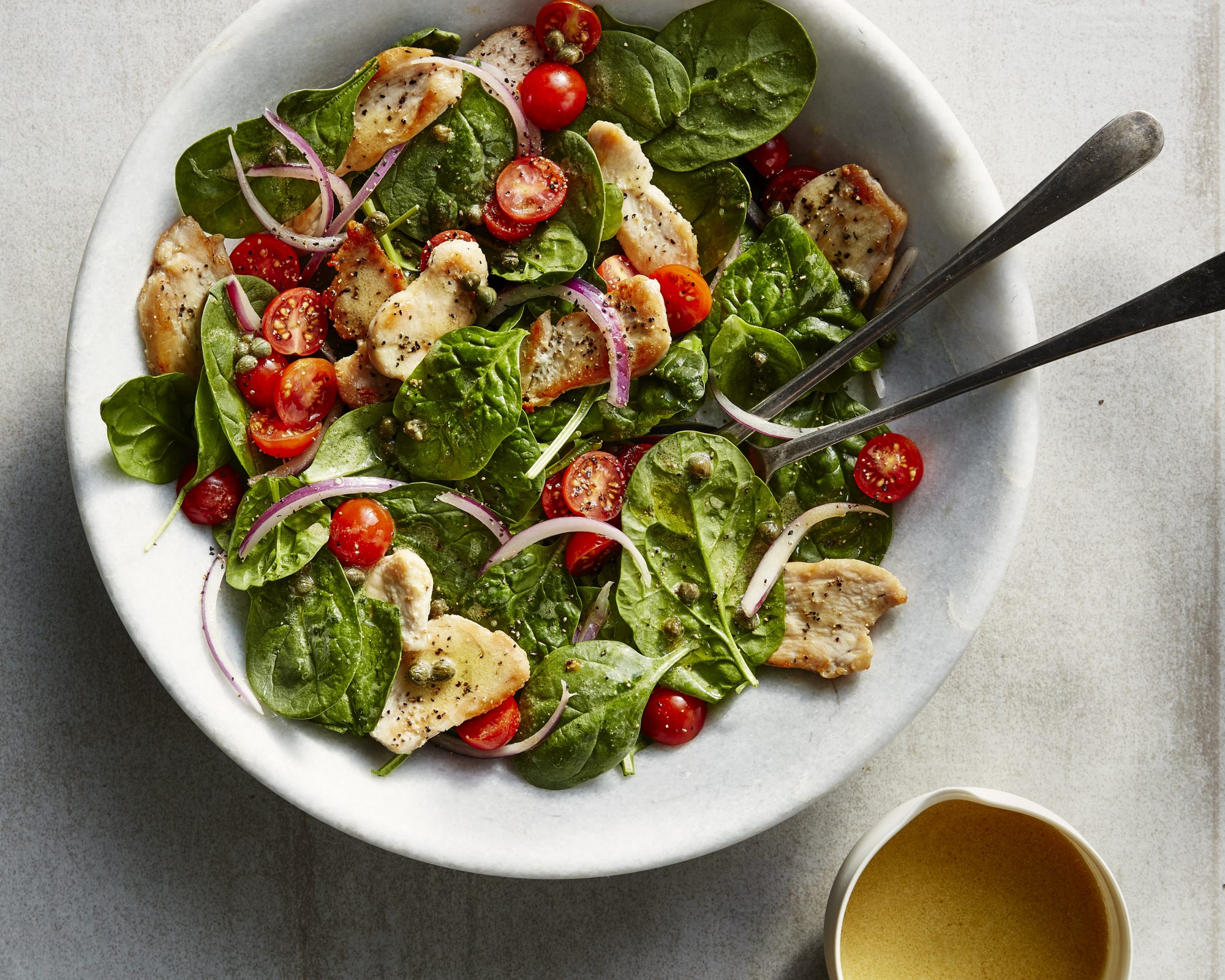 Hot and Cold Chicken and Spinach Salad