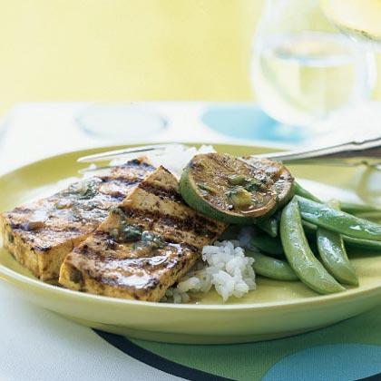 Ginger-Sesame Grilled Tofu Steaks Recipe | MyRecipes