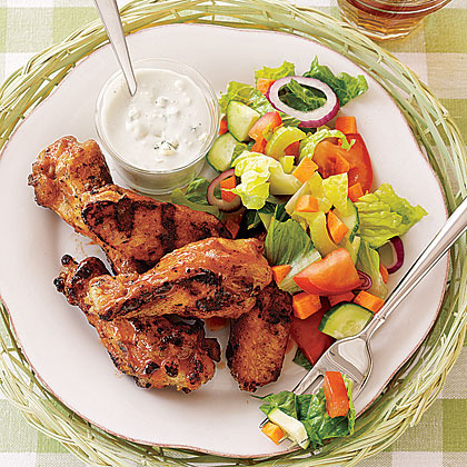 Grilled Buffalo Wings with Salad and Blue CheeseRecipe