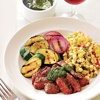Spicy Skirt Steak Chimichurri and Corn Chili Recipe | MyRecipes.com