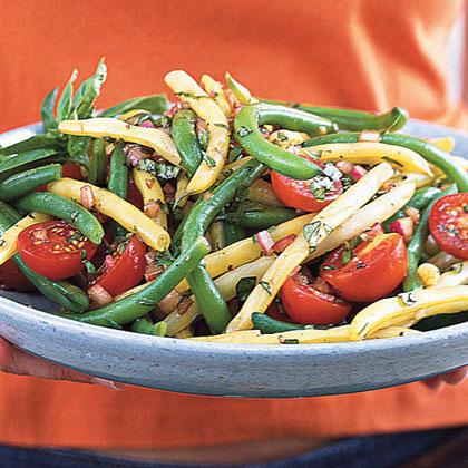 Mixed Bean-Cherry Tomato Salad with Basil Vinaigrette