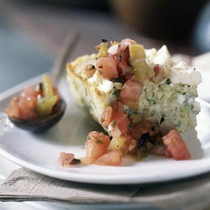 Baked Omelet with Zucchini, Leeks, Feta, and Herbs
