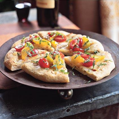 Garlic Flatbreads with Smoked Mozzarella and Tomato Vinaigrette