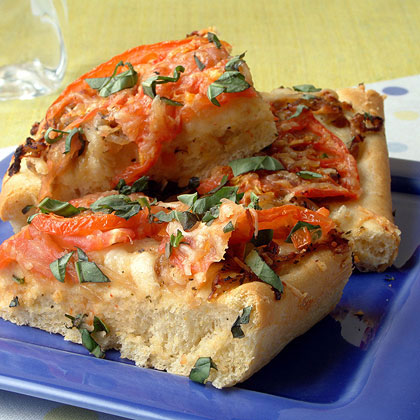 Tomato and Parmesan Focaccia with Caramelized Onions Recipe