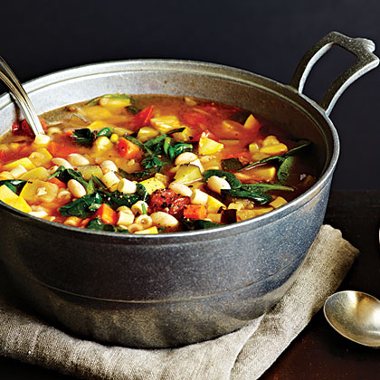 Garden Minestrone RecipeGo back for seconds of this savory soup; each serving only has 217 calories.