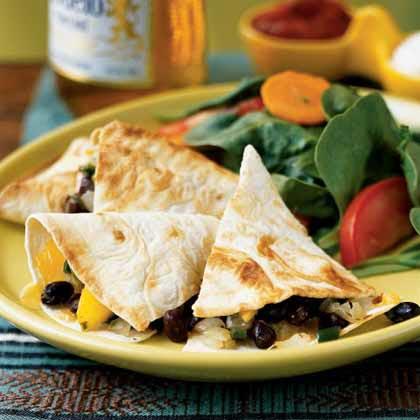 Poblano, Mango, and Black Bean Quesadillas