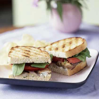 Grilled Eggplant and Tomato Sandwiches with Roquefort Dressing Recipe