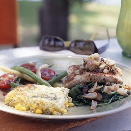 Striped Bass with Fennel over Sautéed Spinach Recipe