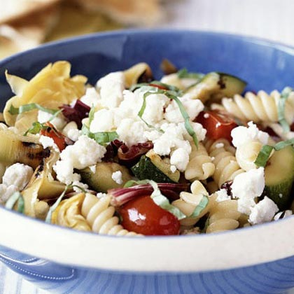 Pasta and Grilled Vegetables with Goat Cheese Recipe