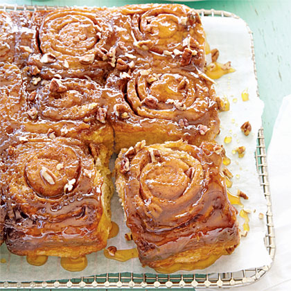 Caramel-Pecan Sticky Buns RecipeMake the dough first and let it rise before you prepare the pan with the caramel-pecan mixture.