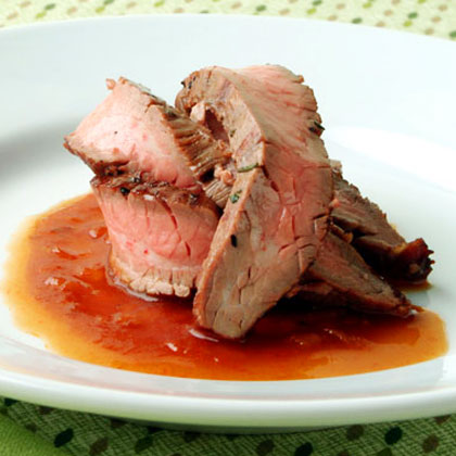 Grilled Flank Steak with Bourbon Barbecue SauceRecipe