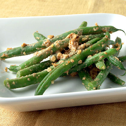 Green Beans Tossed with Walnut-Miso Sauce Recipe