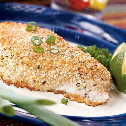 Sesame-crusted Halibut with Poblano Cream Sauce Recipe
