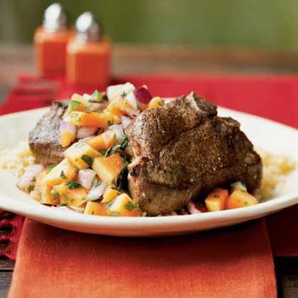 Broiled Lamb with Cilantro-Papaya Salsa