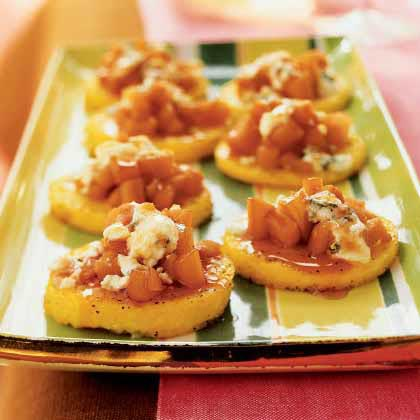 Polenta with Port-Poached Quince and Blue CheeseRecipe